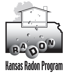 Kansas Radon Program Logo State of Kansas shape with R A D O N in bubbles and tiny bubble rising up into a house